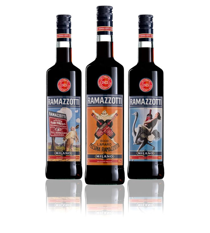 Vintage labels for Amaro Ramazzotti on the after dinners 200th anniversary.