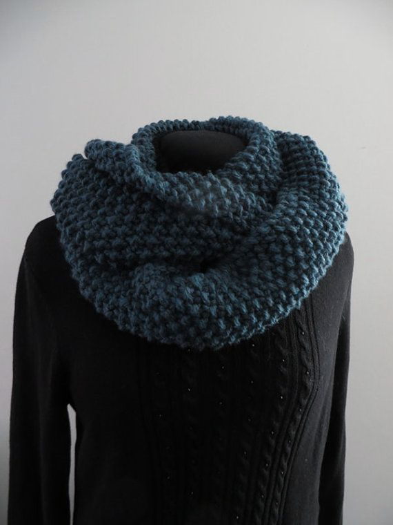 Teal infinity scarf extra long with texture.