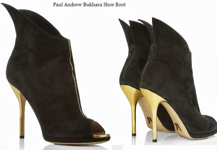 NEW In at Harrods Paul Andrew Bukhara Shoe Boot  Adopt a futuristic guise with Paul Andrew's Bukhara shoe boots. Famed for his fresh, innovative designs, this supple suede pair is no exception. We love the metallic gold-tone accents and distinctive winged back. Pair with simple feminine separates for a cool contrast. https://www.facebook.com/pages/Fashion-Trends-and-Discounts/137797606390386?ref=hl