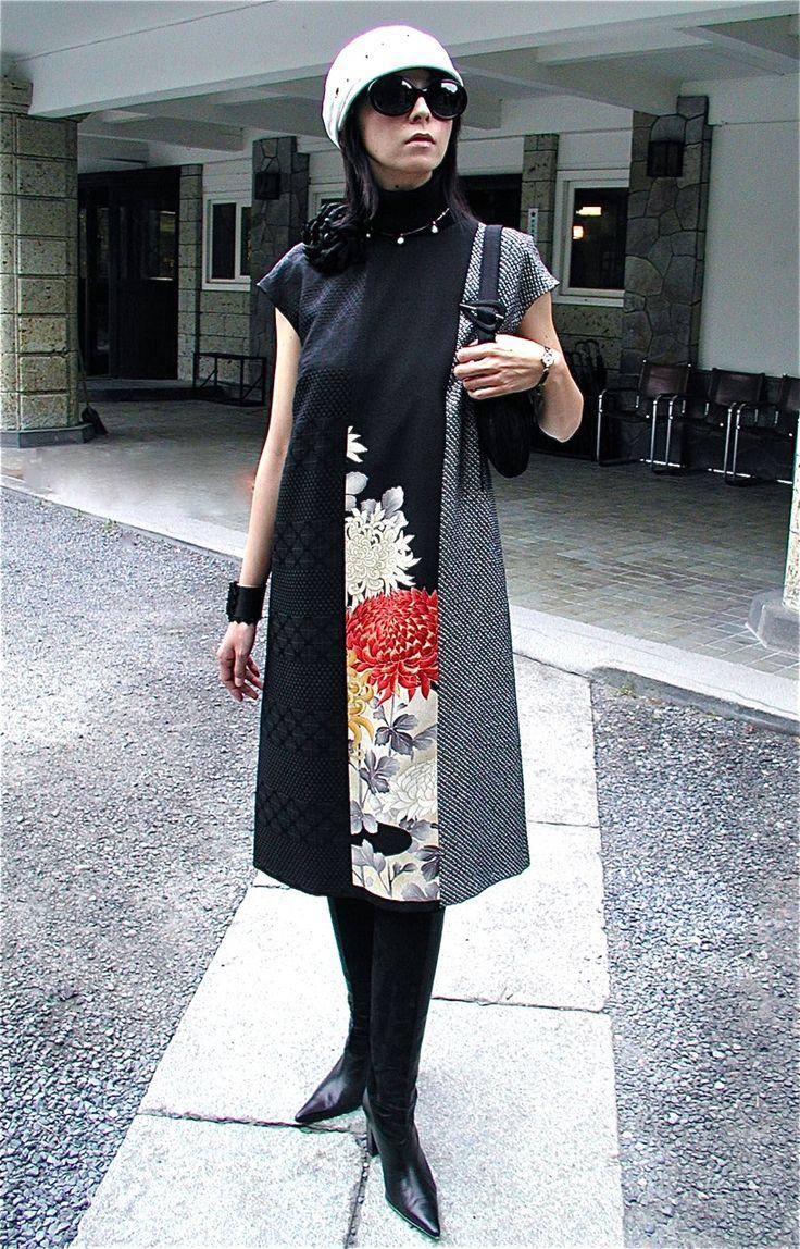 「ANNA1号」・黒地菊刺繍×黒地漆×黒白絞 | ANNA | Shop
