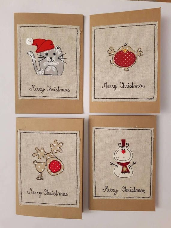 Pack of 4 Fabric Christmas greeting cards with Cat…