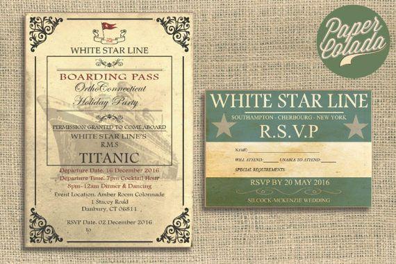 PRINTABLE Titanic Invitation and RSVP (Digital), Vintage Nautical Wedding Invitation, Titanic Birthday Party, Edwardian Wedding High Tea