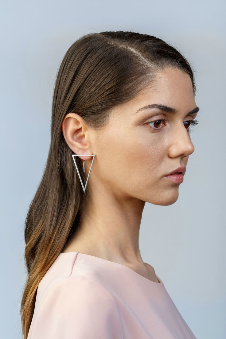 Minimalist Architectural Jewelry - Maedian Earrings in 925 Sterling Silver by MOPHT Studio