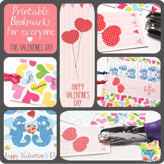 Give a loved one a bookmark this Valentines Day - free valentine printables at Paper Doodle Doo.