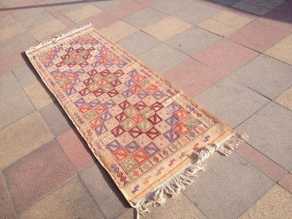 VINTAGE Turkish Runners Cicim Kilim Rug Carpet, Handwoven Kilim Rug, Antique Kilim Rug,Decorative Kilim, Natural Wool 31,4'' X 89,3""