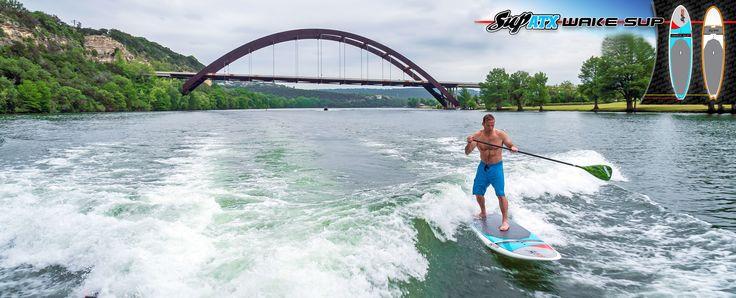Surf a boat wake on a SUP ATX!   www.SUPATX.com  #supatx #paddleboard #sup
