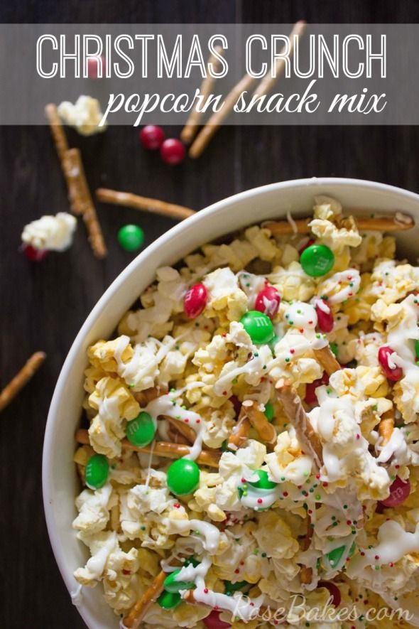 Christmas Crunch Popcorn Snack Mix - could make with milk chocolate, too.