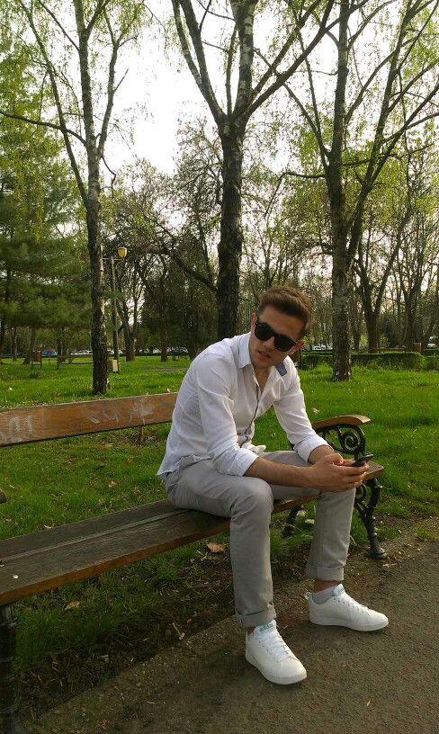 Men's fashion, white shirt, grey pant, white shoes