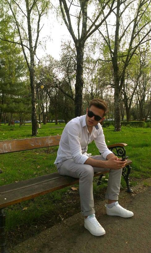 Men's fashion, white shirt, grey pant, white shoes
