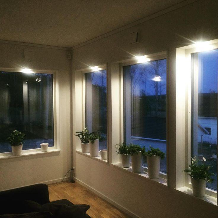 Så glad att vi valde fönstersmygsbelysning till ALLA fönster, så himla mysigt när det börjar skymma ute #belysning #hjältevadshus #spira211 #nybygge #spira