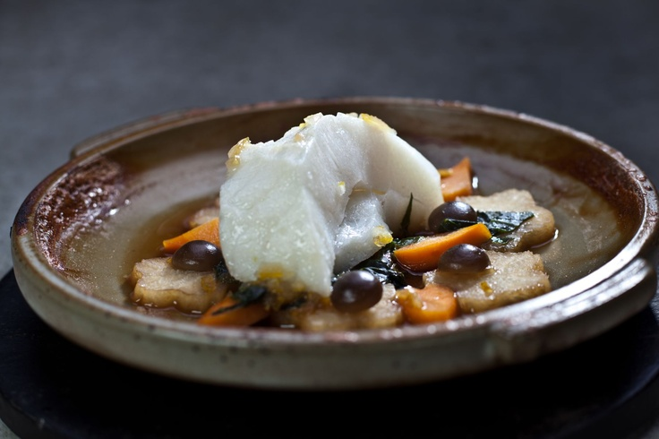 Fine Chilean Seabass with a vegetable accompaniment of daikon, carrot, shimeji mushrooms and baby zucchini, transfused with dashi stock and stewed in a traditional hot pot on an open fire.