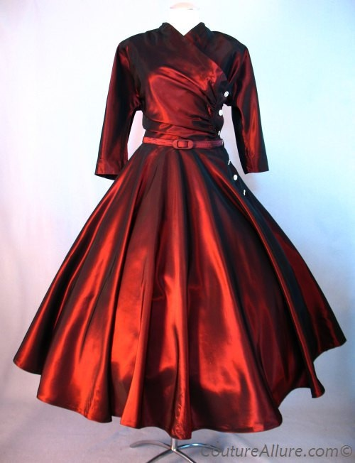SOLD Vintage 50s Full Skirt Dress Burgundy Taffeta Large bust 41 at Couture Allure Vintage Clothing