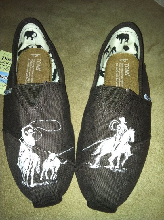Hand painted team ropers on brown Toms size 9 by TravelinJones, $50.00