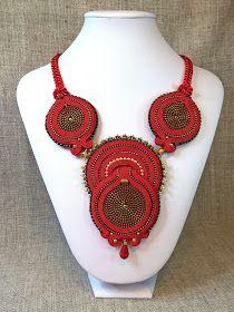 Red soutache necklace with zipper  Czerwony naszyjnik sutasz Suwak Zamek błyskawiczny