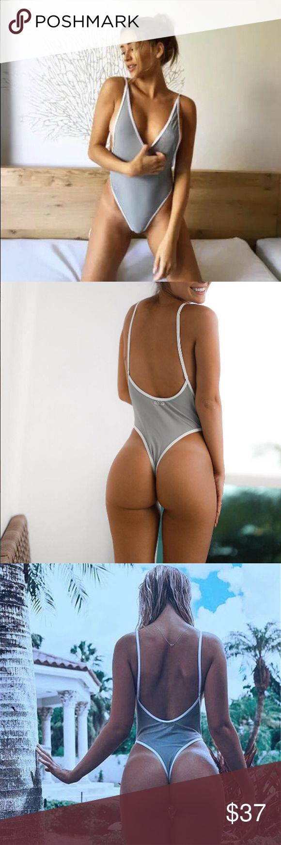 Gray and White Colorblock One Piece Measurements will be up shortly. •Unpadded & thong style• Swim One Pieces