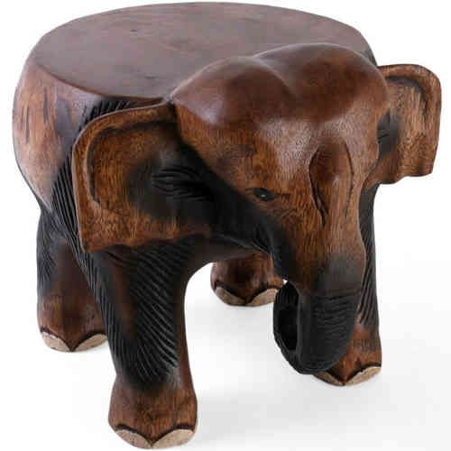 Wooden elephant stool hand crafted in northern thailand