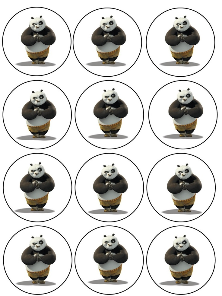 """Single Source Party Supply - 2.5"""" Kung Fu Panda Cupcake Edible Icing Image Toppers"""