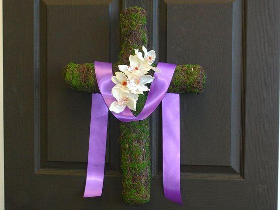 SPRING SALE OFF Spring Wreath Easter Cross Wreaths Front Door Decorations Gift