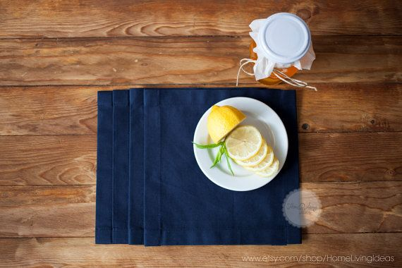 Set of 12 navy blue napkin Christmas napkin by HomeLivingIdeas