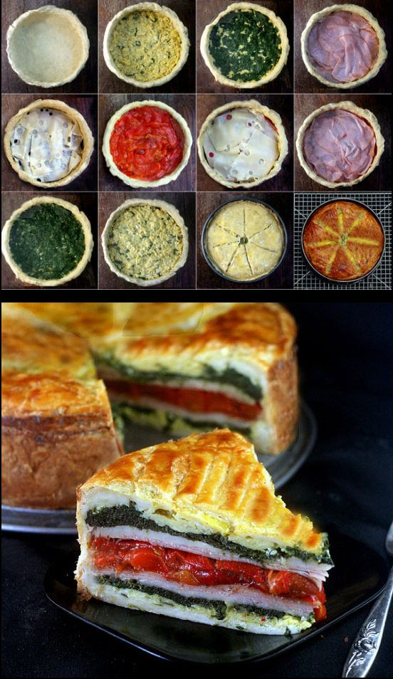 Tourte Milanese - layers of eggs, ham or turkey, cheese, roasted peppers and spinach encased in puff pastry, all in one springform pan!. A great brunch (or anytime!) stunner and super simple to put together.