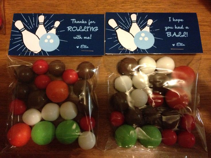 "Bowling party treat bags.  Bag toppers ""Thanks for rolling with me"" and ""I hope you had a ball""."