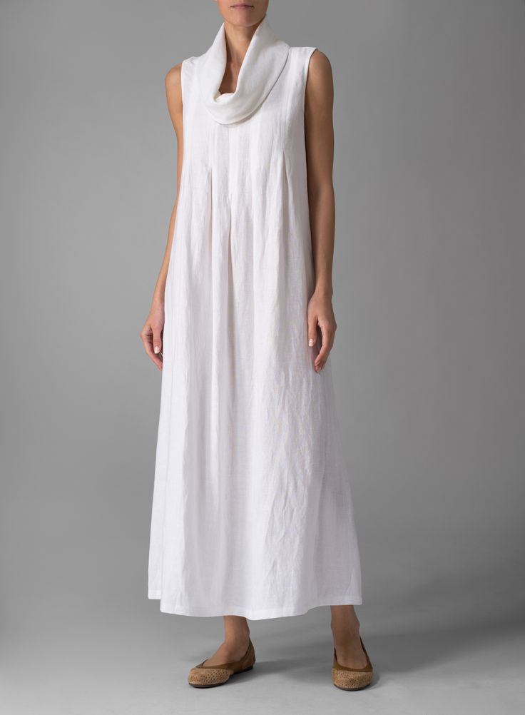 Linen Sleeveless Cowl Neck Long Dress | Create a dramatic look this season in VIVID cowl neck dress for added styling. Belt to form a definitively feminine silhouette.Additionally, plus clothing size will be suitable for you.