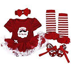 BabyPreg Baby Girls My First Christmas Santa Costume Party Dress 4PCS (S for 3-6 months, Christmas Santa)