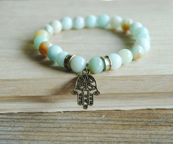 Yoga bracelet, stackable amazonite bracelet, mala bracelet, wrist mala, hamsa hand bracelet, meditation bracelet, healing bracelet by IskraCreations