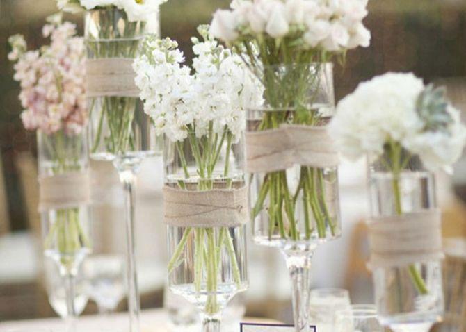 Decoração de casamento com vidrinhos