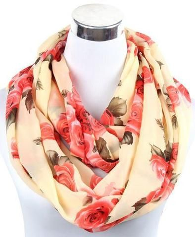 Women's Winter/Autumn Fashion Chiffon Infinity Scarves - 8 Variants beige  Scarves Women winter autumn fashion style products gift outfit accessories fall simple beautiful chic shops ideas  shop store sell buy online 2017 websites