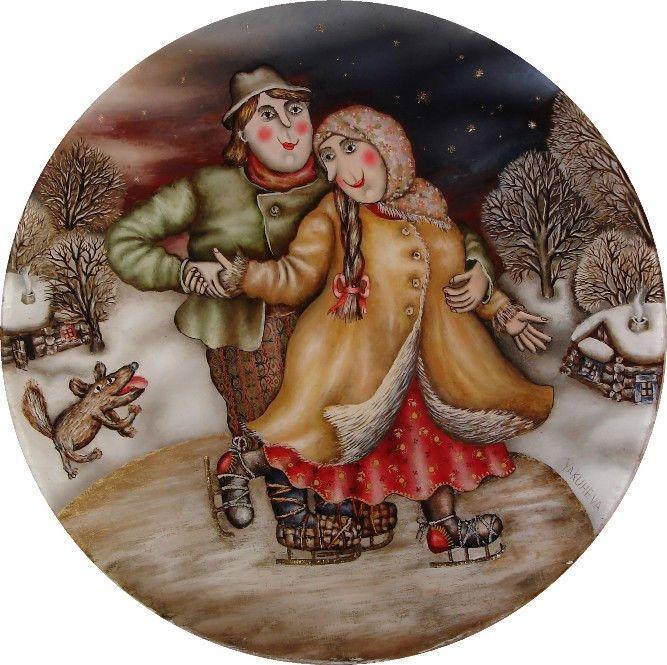 Gallery.ru / Катание на коньках - Живопись на стекле - julia-yakusheva