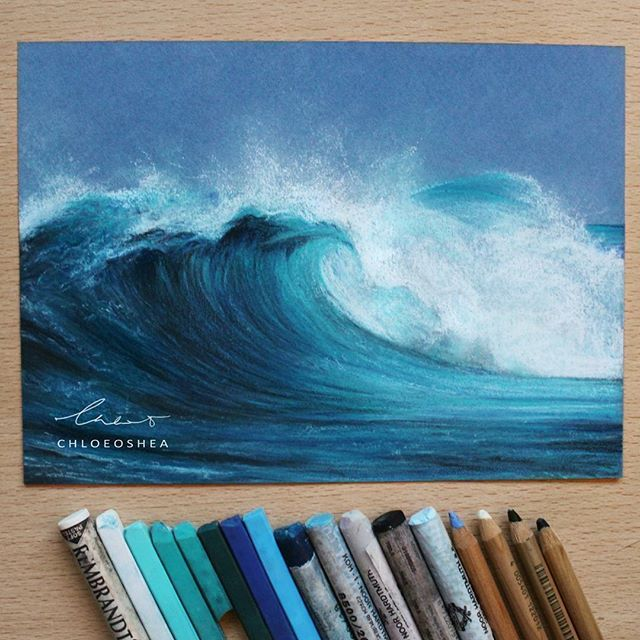 Barrel Wave Pastel  (my first ever Wave piece) ____ At the start of the year I made a goal to practice drawing more often and experiment with new media. I never expected this much support and it helped keep me motivated. I cannot believe that 50,000 of you guys enjoy seeing what I love to do best. Thank you