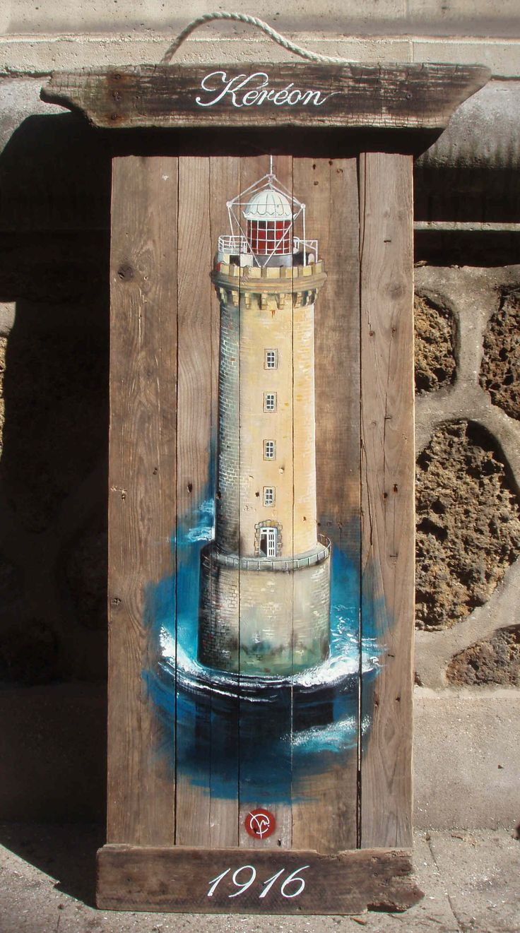 Lighthouse k r on wood float finistere deco paintings on for Bois flotte deco