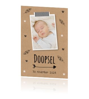 Mooie doopfeest uitnodiging voor een jongen of meisje met eigen foto en kraftprint.