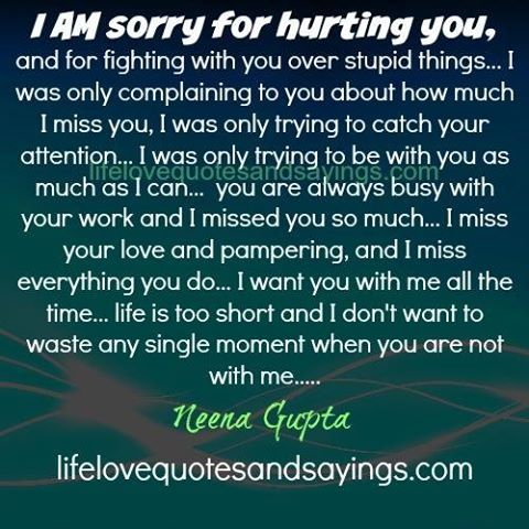 I am sorry for hurting you, and for fighting with you over stupid things… I was…