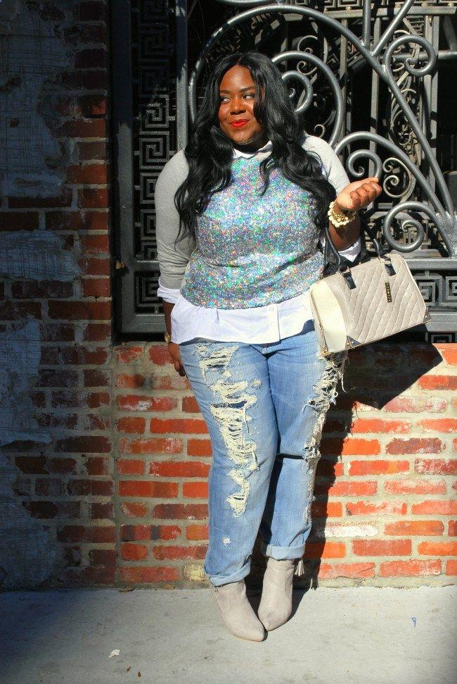 Sequined Sweatshirt, Embellished Sweatshirt, Deb Shops, Musings of a Curvy Lady, Plus Size Fashion, Fashion Blogger, Distressed Boyfriend Jeans, Fashion Blog, Womens Fashion, OOTD