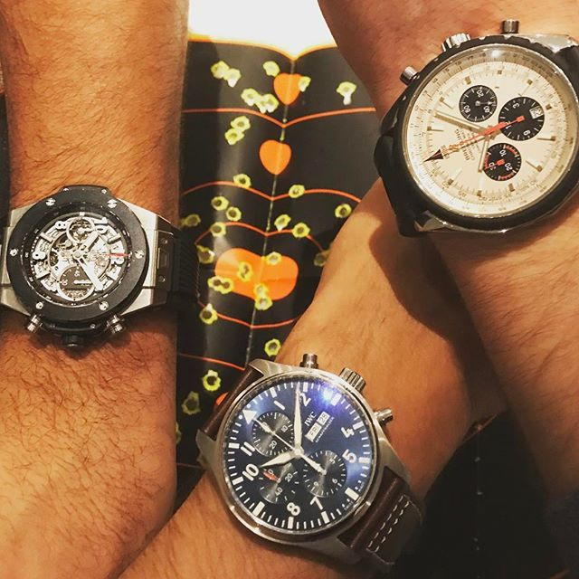 REPOST!!!  Steel, titanium, rubber, ceramic chronographs after a great day of shooting! #hublot #iwc #breitling #chronograph #womw #timepiece #watchesofinstagram #watchfam #watchgeek #watchpics #watch #bigbang #schaffhausen #guns #target #gunrange #automatic #swiss #makeswissmadegreatagain #tgifridays #marksmanship  Photo Credit: Instagram ID @chronoflexny