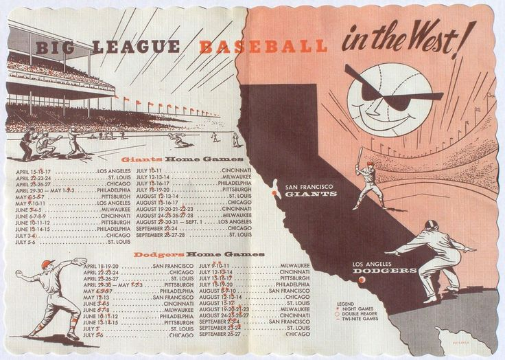 1958 San Francisco Giants Schedule Placemat