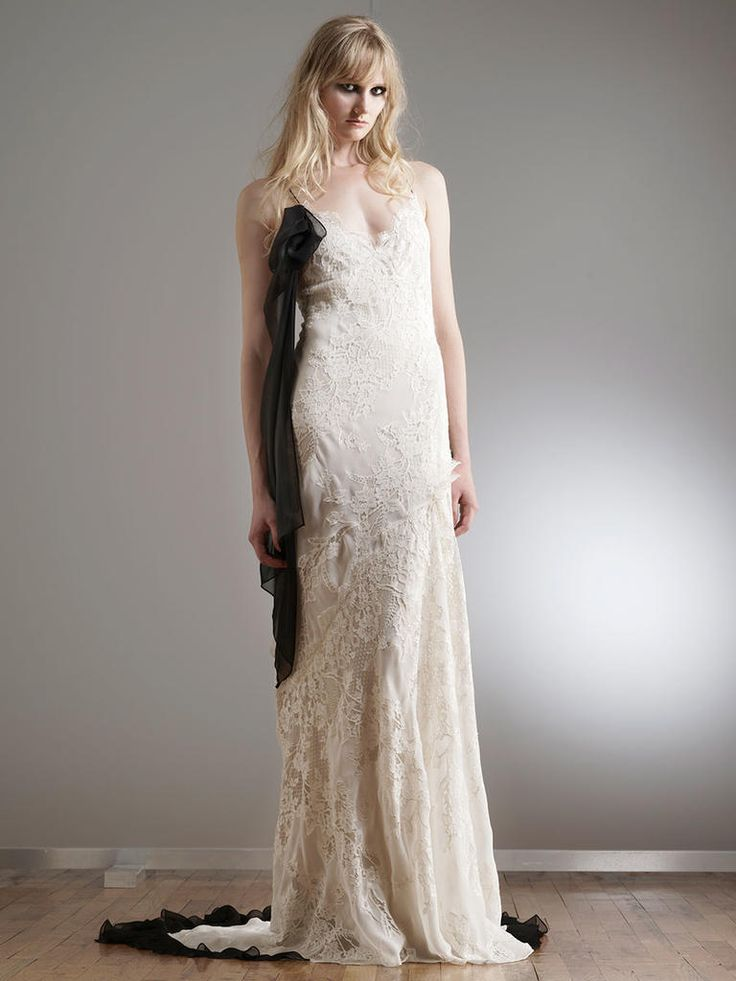 Chiffon Embroidered Lace Wedding Dress with Black Spaghetti Straps and Long Black Chiffon Swag | Elizabeth Fillmore Spring 2018