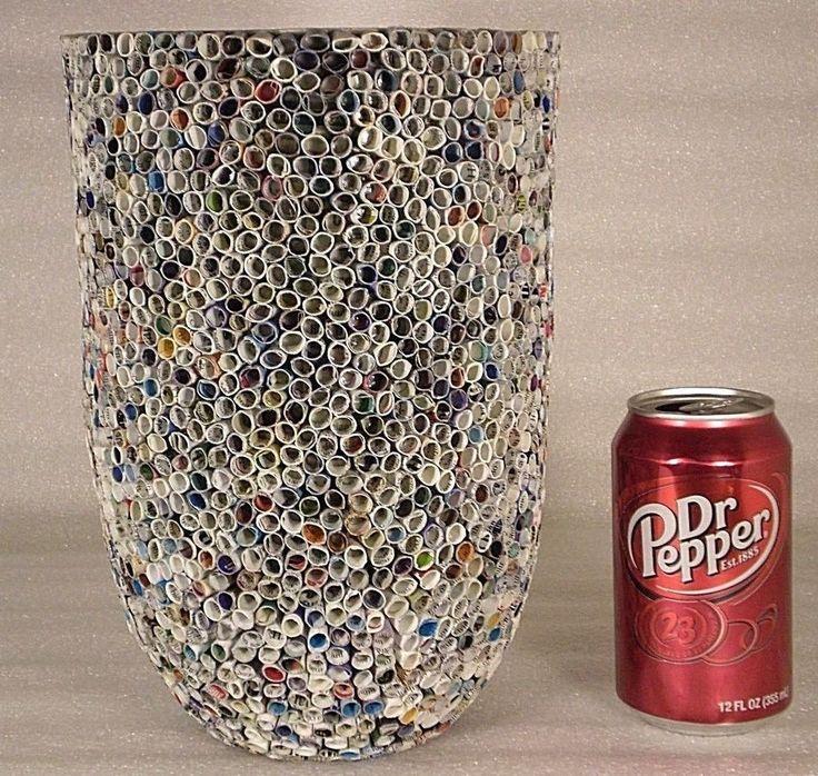 Quilling Large Floor Vase Vietnam Parkson Dept Store Wax Paper Multi Color Decor #Unbranded #Americana