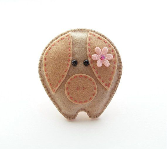 PHOEBE PIGLET  felt brooch accessory by CherryPips on Etsy