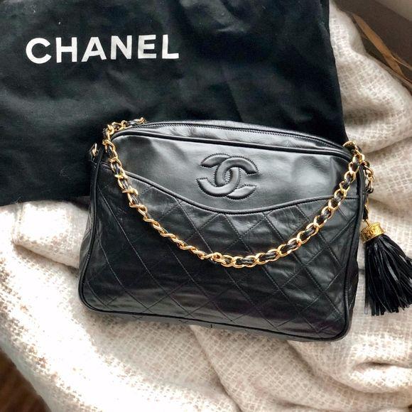Chanel Vintage Quilted Cc Tassel Camera Bag Vintage Chanel Black Leather Top Chanel