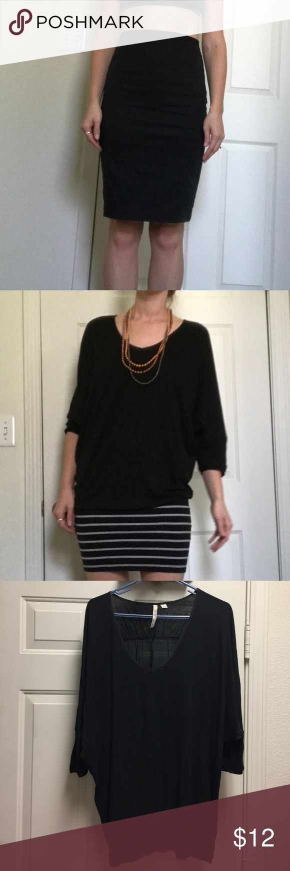 ❗️BUNDLE❗️Professional/workwear for all seasons! This 4 piece bundle includes: black Express high-waisted pencil skirt in size 2 (I would say it fits size 2-4); NY & CO 3/4 length top/tunic with jersey front material and silky back material in size Small; Gap heather gray long sleeve shirt (not quite crop top, but hits right at waist/top of pants) in size Small; and Xhiliration racerback tank top, silky material in size Small!   Skirt would be perfect with each shirt tucked in, slightly…