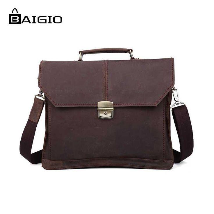 (85.00$)  Watch here  - Baigio Men Crossbady Bag Leather Briefcase Vintage Style Brown Flap Buckle Designer Shoulder Messenger Men laptop bag cases