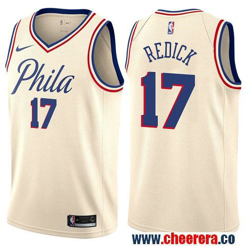 low priced 9e24b a3f51 Philadelphia 76ers #17 JJ Redick Cream Nike NBA Men's ...