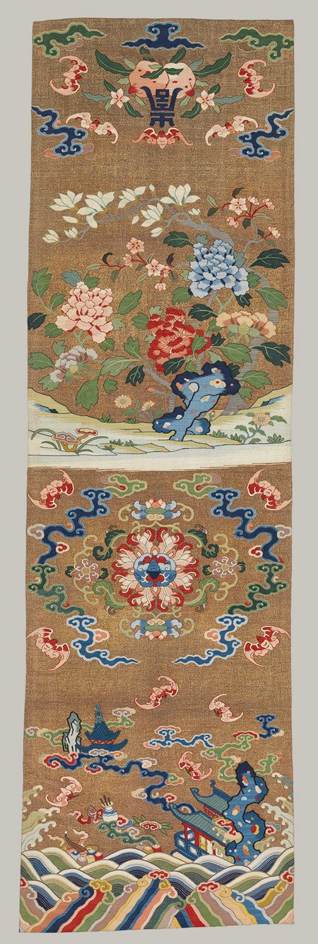 Chair strip with auspicious patterns (one of a pair), Qing dynasty (1644–1911), 18th century China Tapestry-woven (kesi) silk and metallic thread