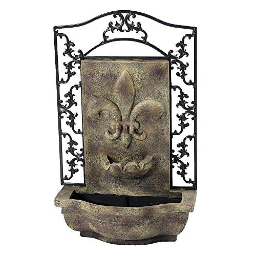 sunnydaze french lily solar outdoor wall fountain florentine stone solar on demand feature