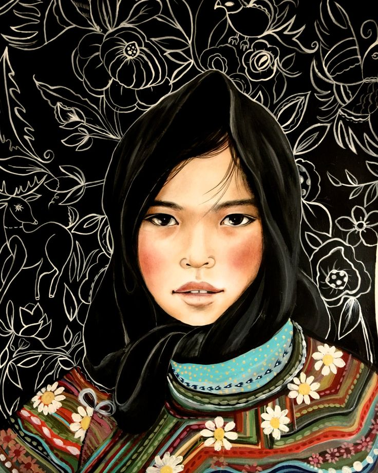 Girl from Vietnam Hmong people art print 8 x 10 or more ... Miao People Art