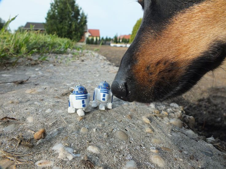 earring R2-D2 handmade from polymer clay