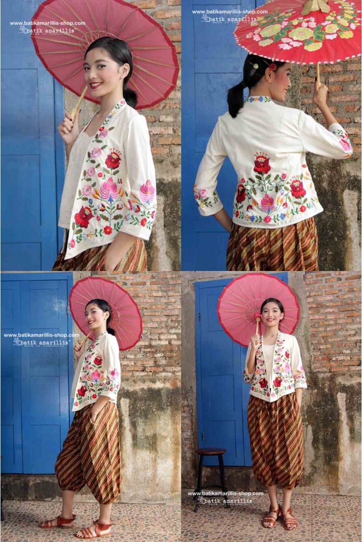 Batik Amarillis's Miss Popon ...Lovely Kebaya encim inspired and designed which features Floral Hungarian embroidery wear it over Miss Popon Camisole and miss Popon pants , Arundhati pants or any kind of bottoms will do nicely with this lovely Miss Popon. #batikamarillis #batikindonesia #kebayaencim